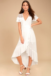 Lost + Wander Mari White High-Low Wrap Dress