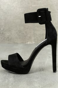 Steve Madden Circuit Black Suede Leather Ankle Strap Heels
