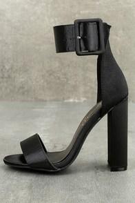 Elina Black Satin Ankle Strap Heels