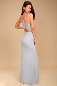Story of a Starry Night Grey Backless Lace Maxi Dress