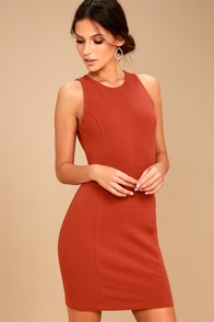 Jack by BB Dakota Gordon Terra Cotta Bodycon Dress
