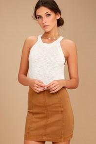 Free People Modern Femme Tan Denim Mini Skirt