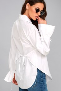 J.O.A. Sweet Magnolia White Long Sleeve Button-Up Top