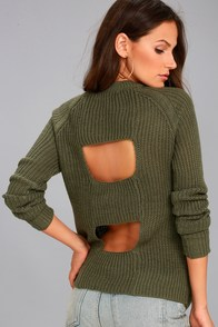 Jack by BB Dakota Percival Olive Green Backless Sweater