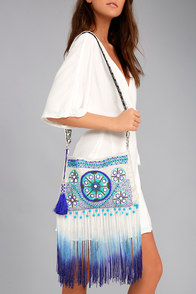 Seashell Collection Cream and Blue Fringe Crossbody Bag