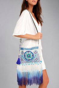 Seashell Collection Cream and Blue Fringe Crossbody Bag