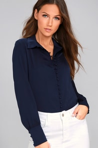 Good For You Navy Blue Button-Up Top
