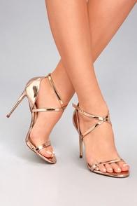 Trixy Rose Gold Patent High Heel Sandals