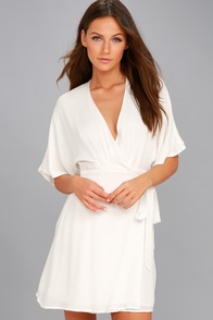 Sunday Sun White Wrap Dress