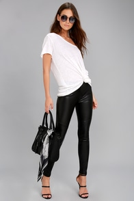 Free People Moto Black Vegan Leather Leggings at Lulus.com!