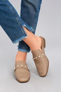 Winona Light Taupe Pearl Loafer Slides