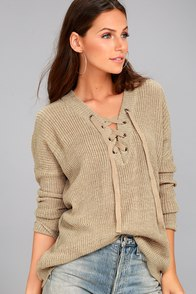 Jack by BB Dakota Willard Beige Lace-Up Sweater