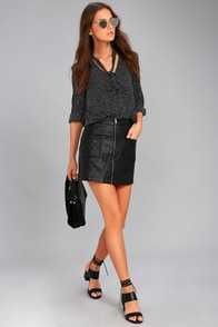 Jack by BB Dakota Cohen Black Vegan Leather Mini Skirt