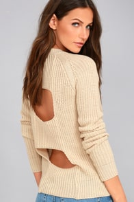 Jack by BB Dakota Percival Beige Backless Sweater