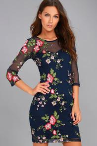 Wilhelmina Navy Blue Embroidered Dress