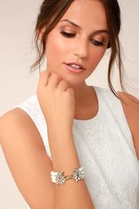 Charming Grace Gold and Pearl Rhinestone Bracelet