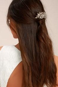 Peak of Perfection Gold Rhinestone Hair Comb
