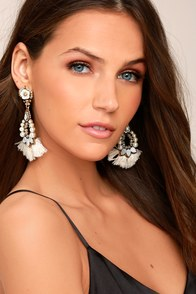 Make a Statement Gold and Cream Rhinestone Tassel Earrings