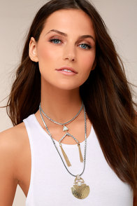 Match Maker Silver and Gold Layered Choker Necklace