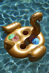 Sunnylife Swan Gold Inflatable Drink Holder