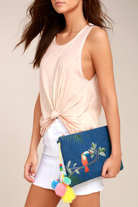 Tropical Toucan Blue Denim Embroidered Clutch