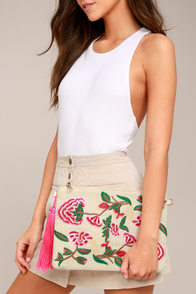 Abloom Light Beige Embroidered Clutch