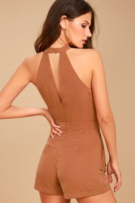 J.O.A. Caught Their Eyes Light Brown Halter Romper