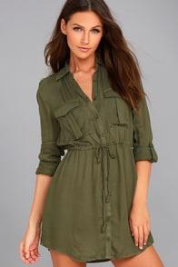 Jack by BB Dakota Casey Olive Green Long Sleeve Dress