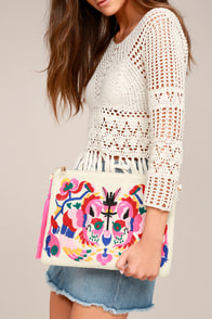 Call It Love Light Beige Embroidered Clutch