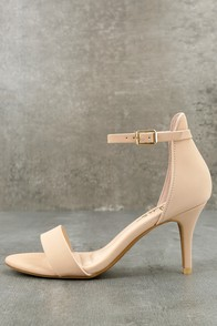 Published Author Nude Nubuck Ankle Strap Heels