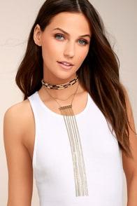 Wild One Gold and Leopard Layered Choker Necklace