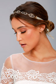 Breathtaking Cream and Gold Rhinestone Headband