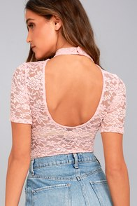 Dance with Destiny Pink Lace Bodysuit