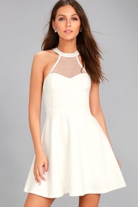 Light and Grace White Skater Dress