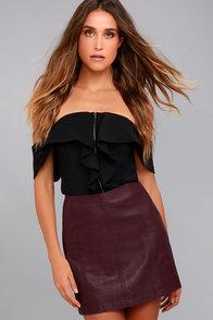Free People Modern Femme Plum Purple Vegan Leather Mini Skirt