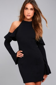 Free People Sweet Talk Black Off-the-Shoulder Dress