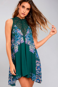 Free People Marsha Teal Green Print Lace Slip Dress
