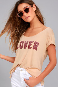 Daydreamer Lover Nude Raw Neck Tee