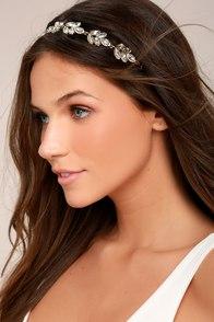 Go With Grace Cream and Gold Rhinestone Headband