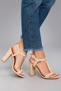 Zelina Almond Pearl Suede High Heel Sandals