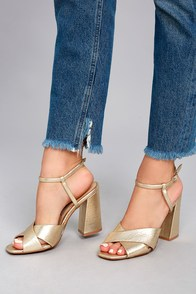 Chinese Laundry Low Light Gold High Heel Sandals