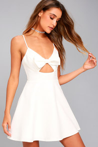 Better Bow-lieve It White Skater Dress