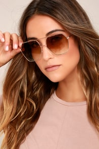 Funky Town Brown and Gold Aviator Sunglasses
