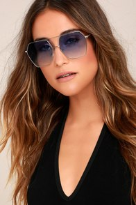 Funky Town Blue and Silver Aviator Sunglasses