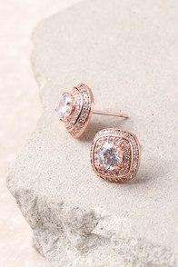 Dream Date Rose Gold Rhinestone Earrings