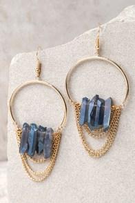 Stunning Spirit Gold and Blue Earrings