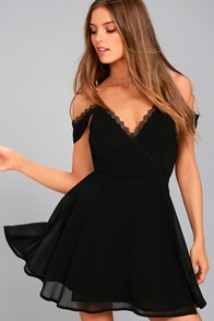 Absolutely Unforgettable Black Lace Off-the-Shoulder Dress