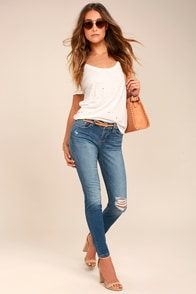 Keep on Dancin' Medium Wash Distressed Skinny Jeans