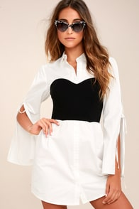 Sultry Business Black and White Shirt Dress