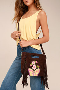 California Dreamin' Brown Suede Leather Embroidered Purse